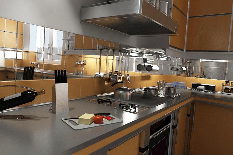 Зеркальная плитка в интерьере кухни