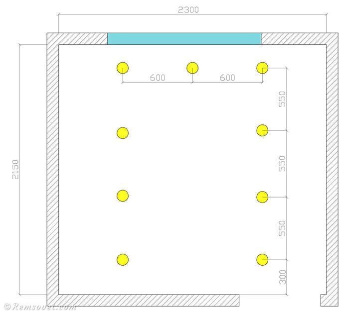 Схема расположения точечных светильников