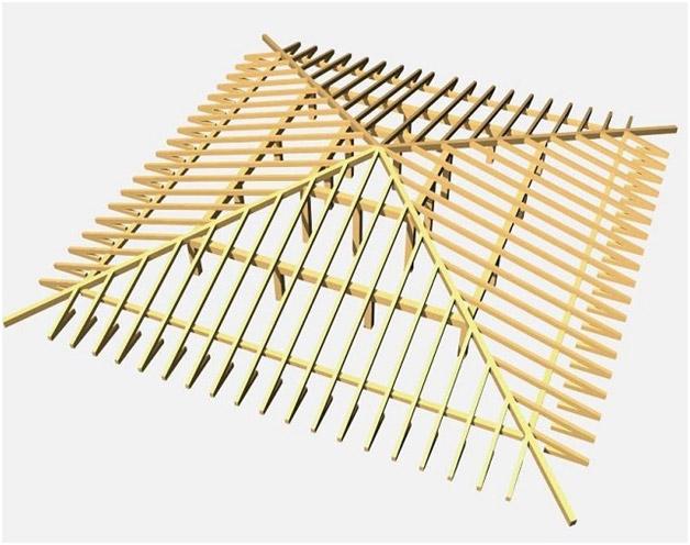 Шатровая крыша, схема стропильной системы
