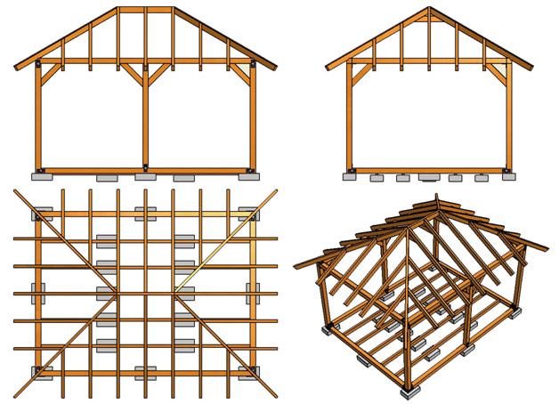 Вальмовая крыша, схема стропильной системы