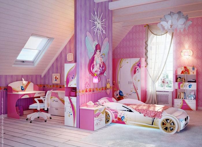Яркий интерьер комнаты для девочки