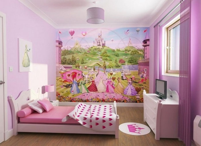 Дизайн детской комнаты для девочки со сказочными персонажами