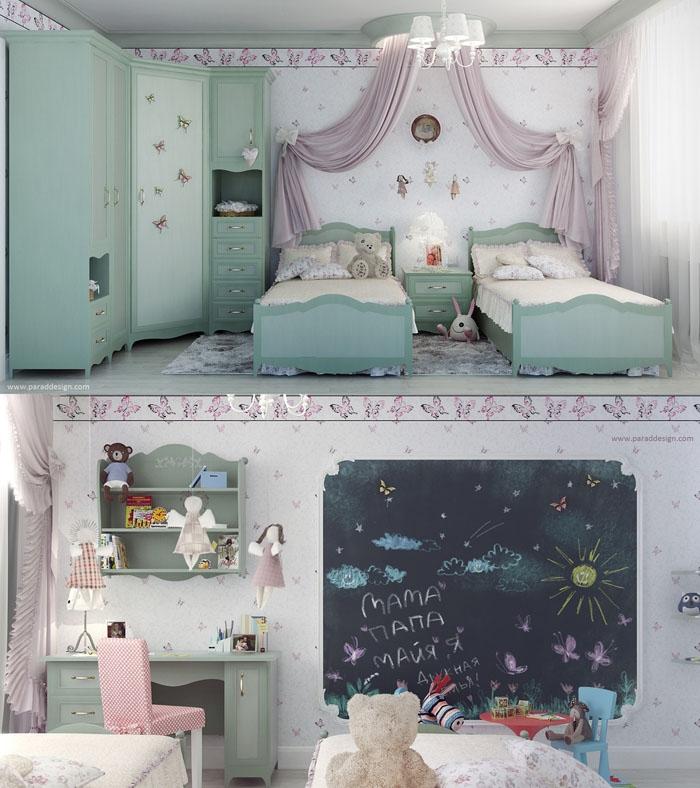 Фото интерьера комнаты для двух девочек в пастельных тонах