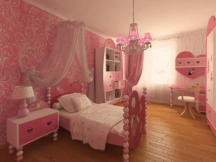 Дизайн детской комнаты для девочки в розовом цвете