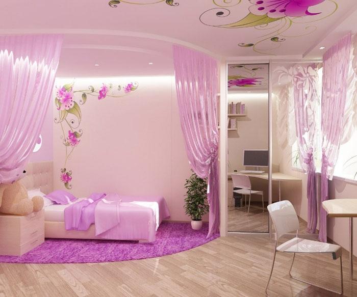 Дизайн комнаты для девочки - спальное место вынесено в отдельную зону