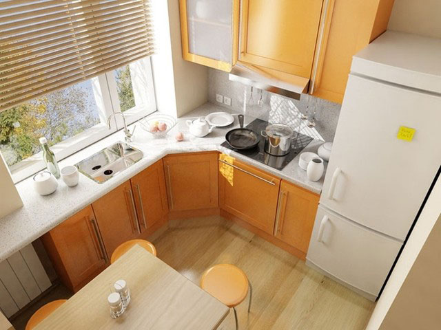 Планировка маленькой кухни - подоконник в качестве столешницы