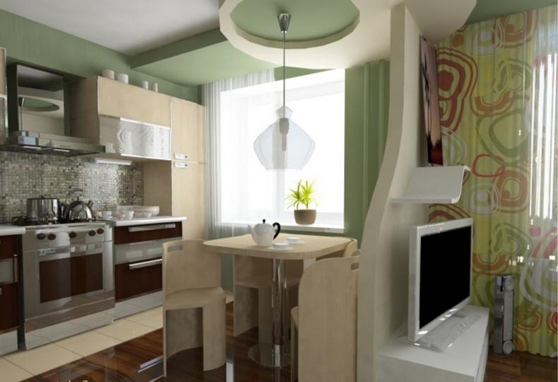 Планировка маленькой кухни - объединение комнаты и кухни