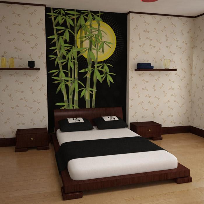 Фото дизайна спальни в японском стиле