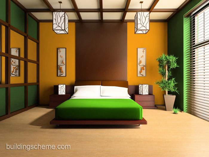 Зелёный цвет в дизайне спальни в японском стиле
