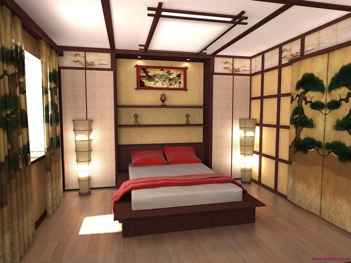 Дизайн спальни в японском стиле: элементы декора