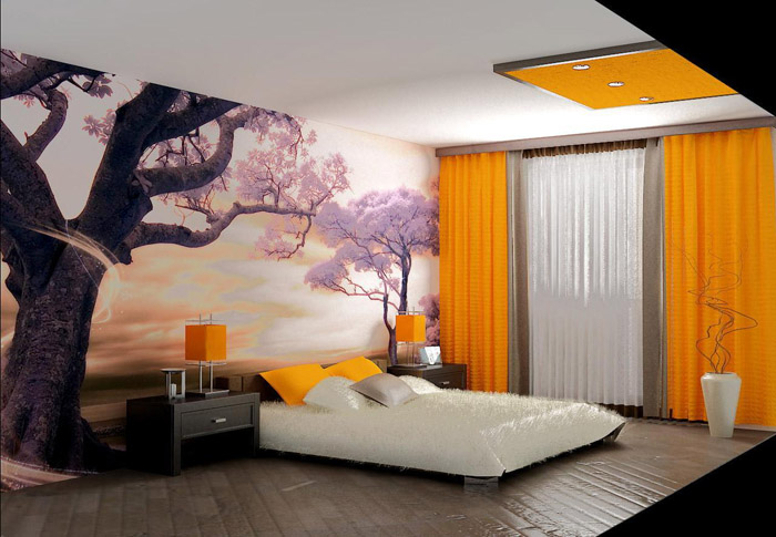 Жёлтый цвет в дизайне спальни в японском стиле