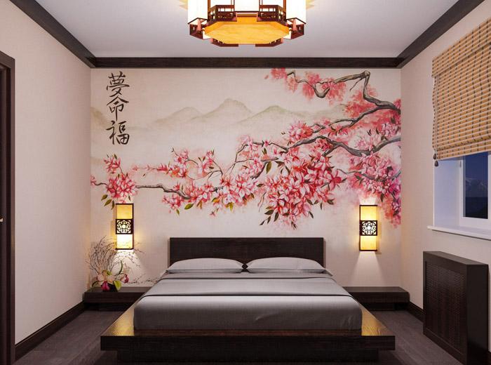Дизайн спальни в японском стиле: минимум мебели
