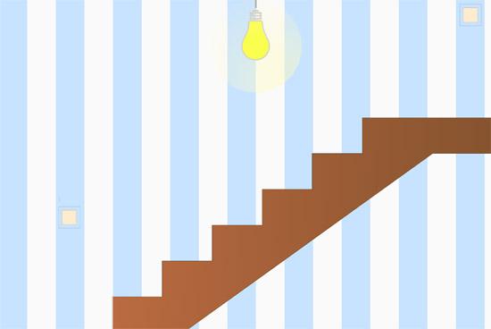 Освещение лестницы с использованием проходного выключателя