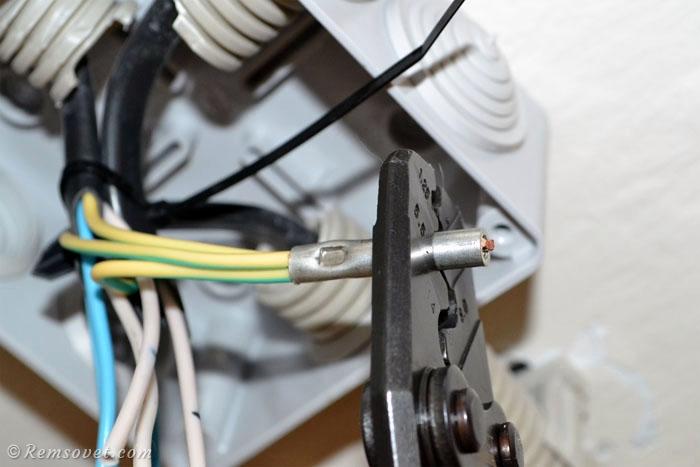 Опрессовка соединений кабеля, точечная опрессовка, вторая точка