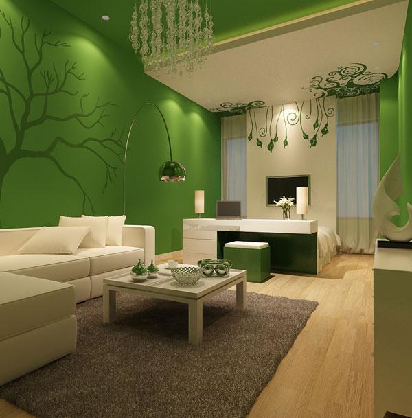 Зелёный цвет в интерьере гостиной