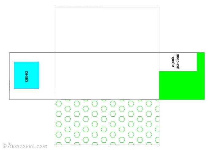 Схема оклейки стен комнаты комбинированными обоями