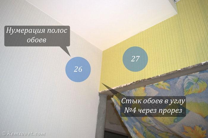Стыковка комбинированных обоев в углу комнаты, белые и зелёные обои, комбинированные обои