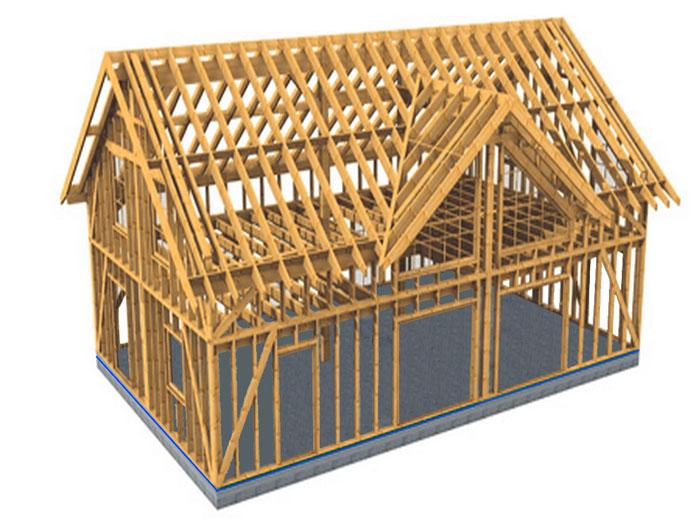 Каркасный дом, деревянный каркас