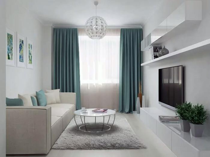 """Светлая мебель и шторы """"в потолок"""" визуально увеличивают маленькую комнату"""