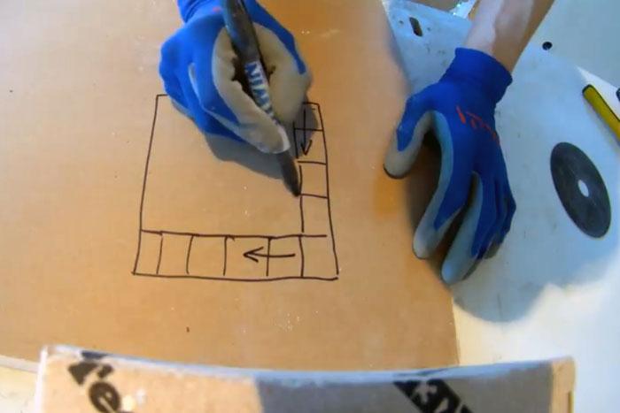 Укладка плитки, подготовка, чертим схему укладки