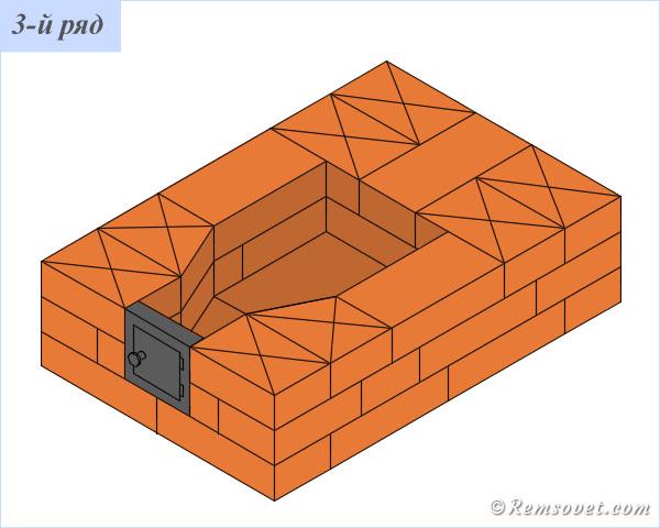 Порядовка отопительной печи ПТО-2300, 3-й ряд