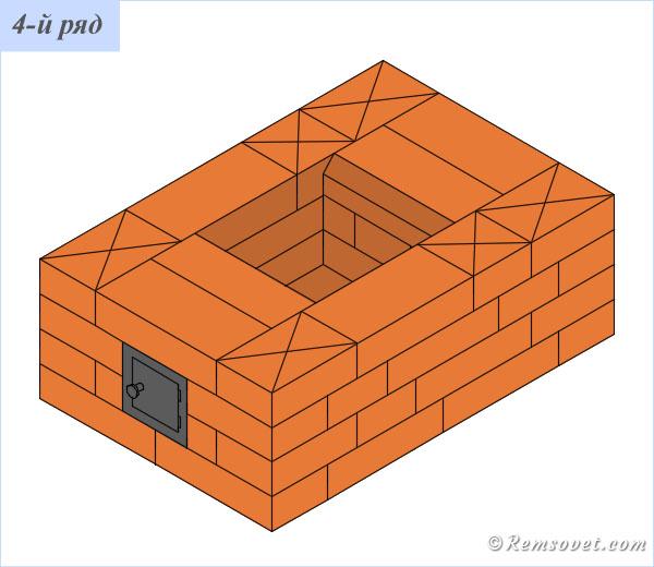 Порядовка отопительной печи ПТО-2300, 4-й ряд