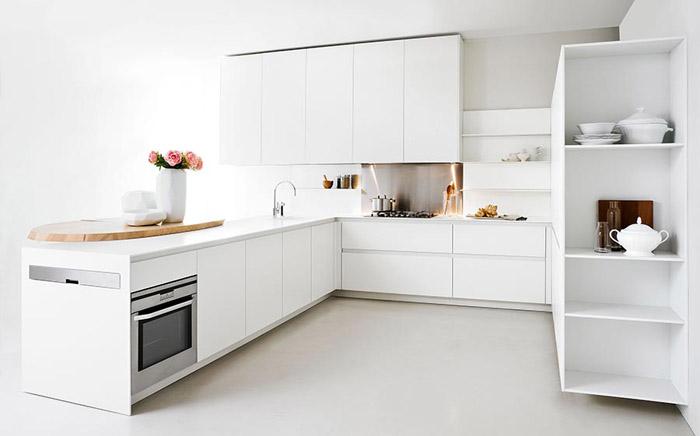 Кухонная мебель в стиле минимализм, отсутствие ручек на дверцах шкафов