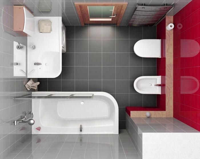 Пример расположения сантехники при дизайне ванной комнаты площадью 5 кв. м