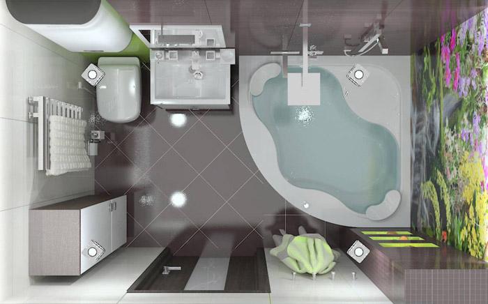 Ещё один пример размещения мебели и сантехники в ванной 5 кв. м