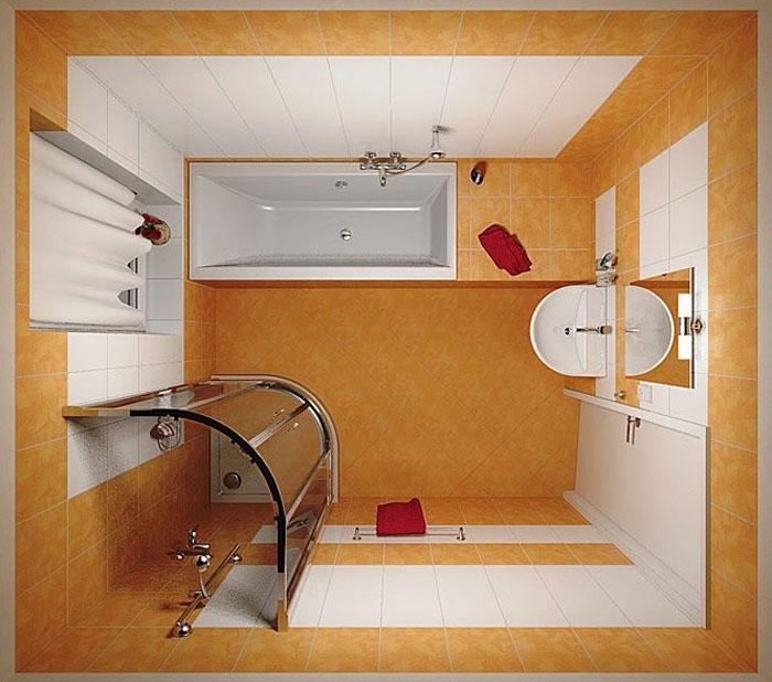 Размещение душевой кабинки и ванны на маленькой площади