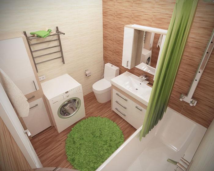 Интерьер ванной комнаты 5 кв. м в тёплых тонах