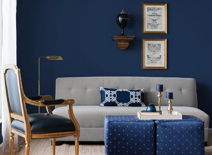 Сочетание серого и синего цвета в интерьере