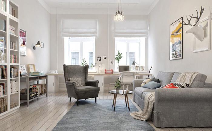 Серый оттенок в интерьере в скандинавском стиле