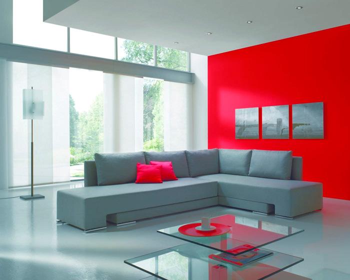 Сочетание серого цвета с красным в интерьере