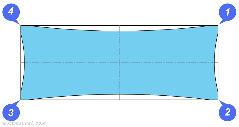 Последовательность установки полотна натяжного полотна, сначала закрепляем углы