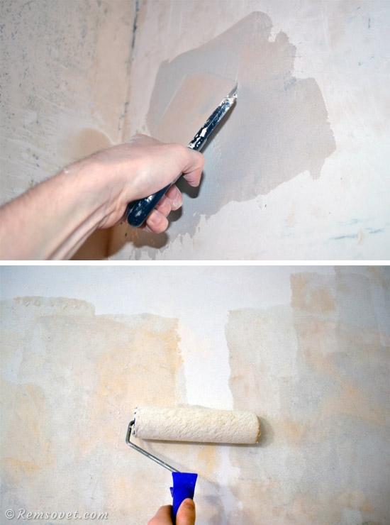 Перед поклейкой обоев стену необходимо подготовить: удалить старые обои, зашпаклевать, а затем нанести грунтовку