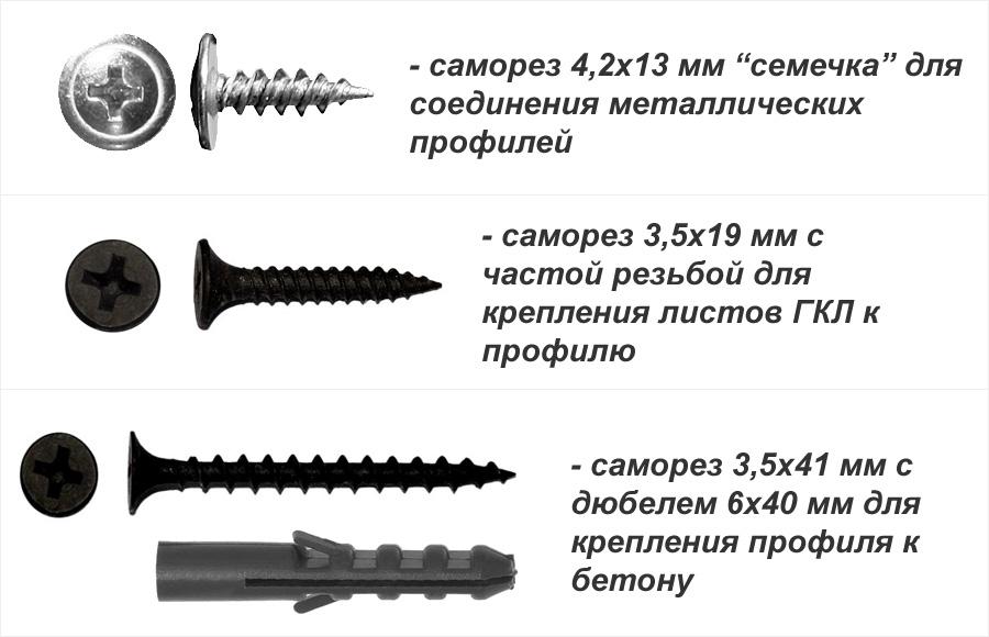 саморез с прессшайбой 4,2х13, саморез по металлу 3,5х25, саморез 3,5х41 с дюбелем 6х40, крепёж для сборки потолочного короба из ГКЛ