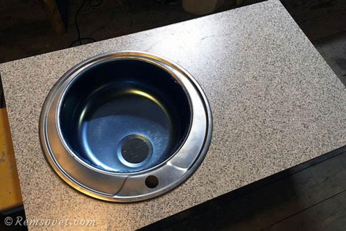 Врезка кухонной мойки в столешницу