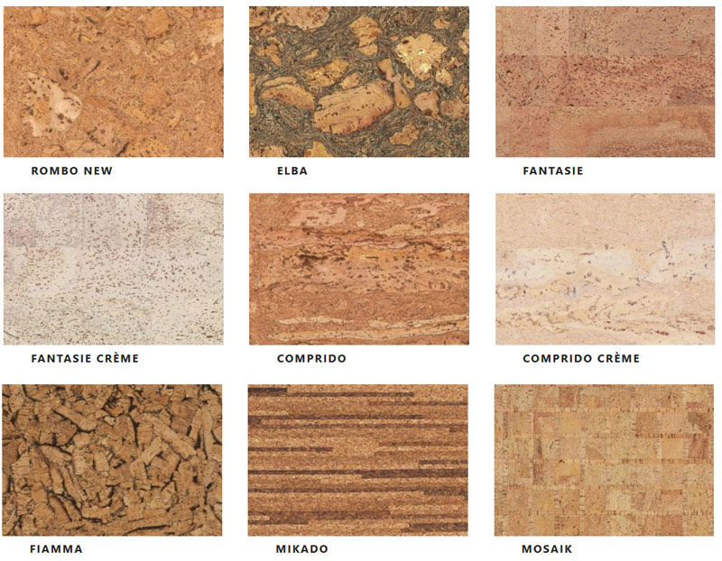 Пример текстур из коллекции Naturalcork производителя CORKSTYLE