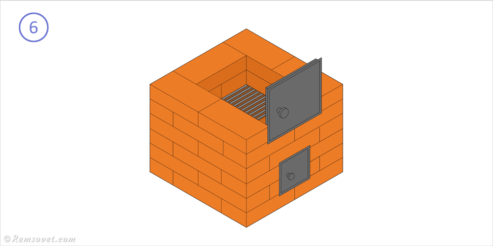 Малогабаритная отопительная печь: 6-й ряд, устанавливаем топочную дверцу