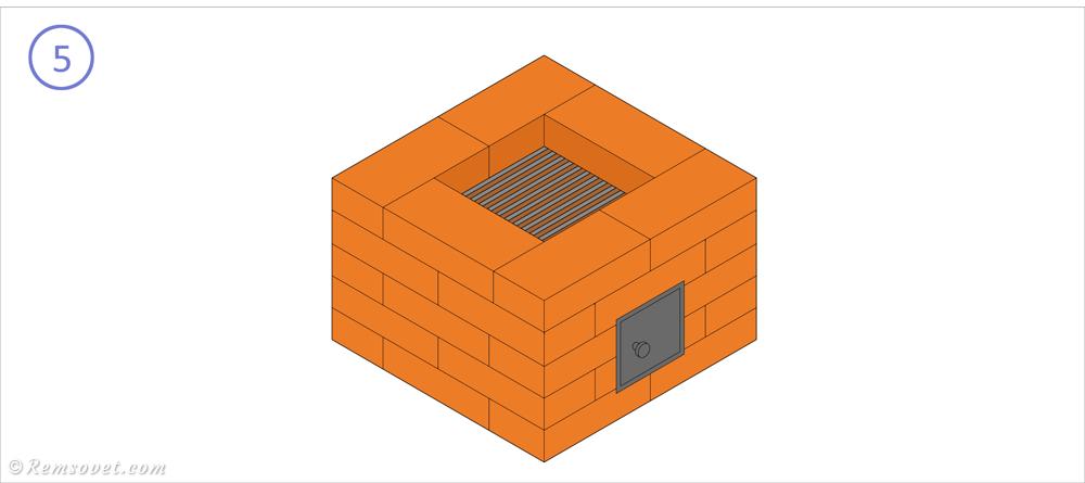 Малогабаритная отопительная печь: 5-й ряд, установка колосниковой решёткой