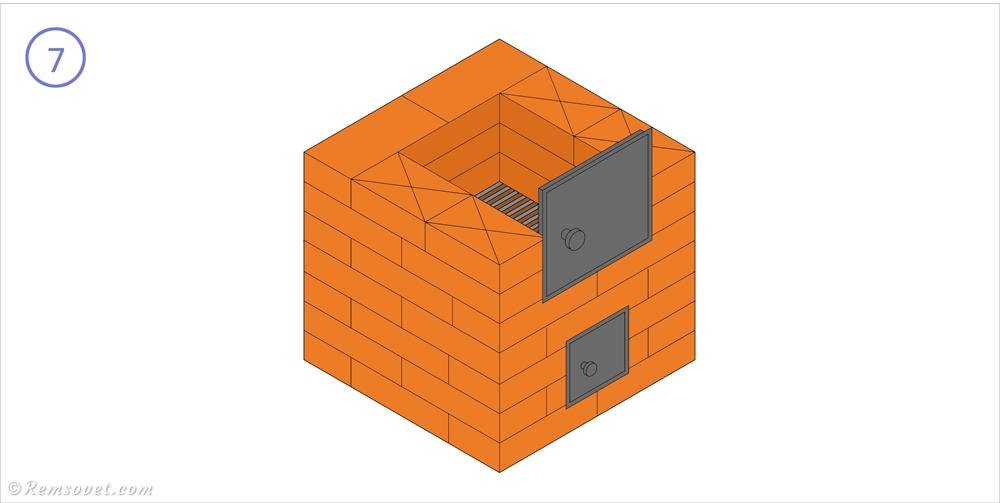 Малогабаритная отопительная печь: 7-й ряд, формирование топочной камеры