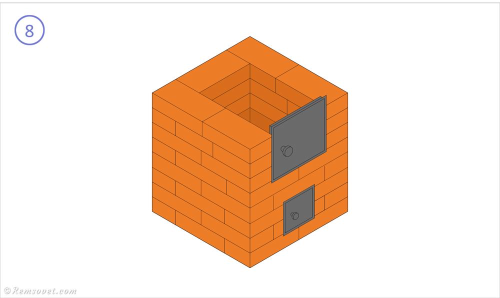 Малогабаритная отопительная печь: 8-й ряд, формирование топочной камеры
