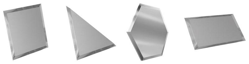 Популярные формы зеркальной плитки: квадратная, треугольная, прямоугольная, шестиугольная (сота).