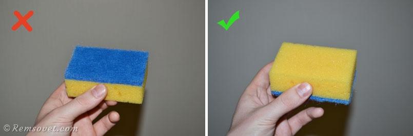 Нельзя использовать жёсткую губку при чистке натяжного потолка