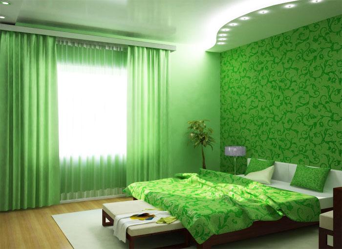 Использование зелёного цвета в интерьере спальни