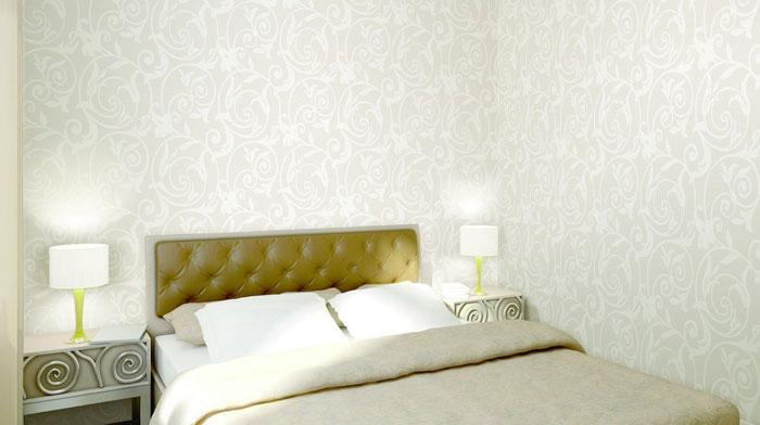 Белые обои в спальне, спальня со светлыми обоями