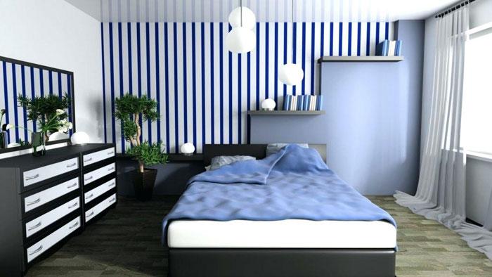 Использование синего цвета и его оттенков в интерьере спальни