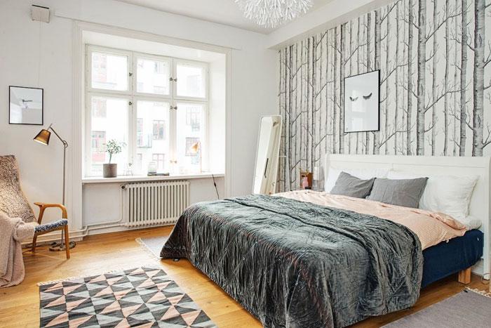 Интерьер спальни в скандинавском стиле, обои в скандинавском стиле
