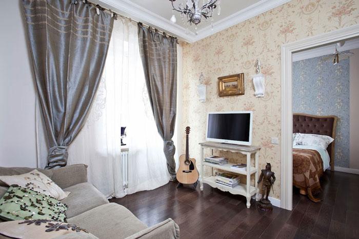 Спальня в классическом стиле, обои в классическом стиле